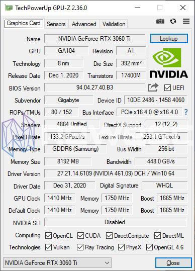REVIEW GIGABYTE RTX 3060 TI EAGLE GPUZ