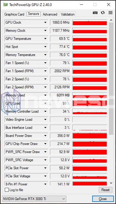 REVIEW GIGABYTE RTX 3080Ti GAMING OC GPUZ STOCK