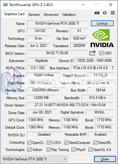 REVIEW GIGABYTE RTX 3080Ti GAMING OC GPUZ