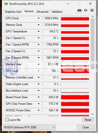 REVIEW GIGABYTE RTX 3090 GAMING OC GPUZ STOCK