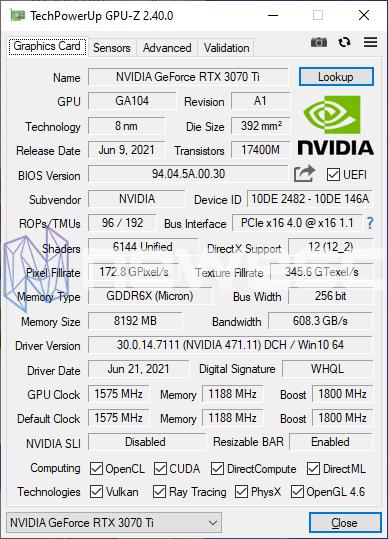 REVIEW KFA2 RTX 3070TI SG GPUZ