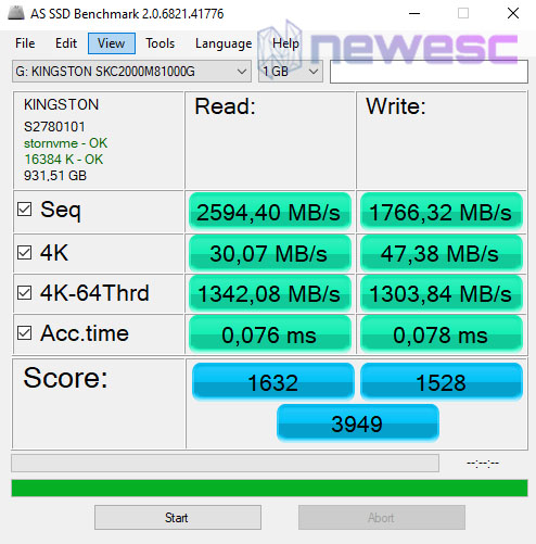 REVIEW KINGSTON KC2000 ASS SSD BENCHMARK