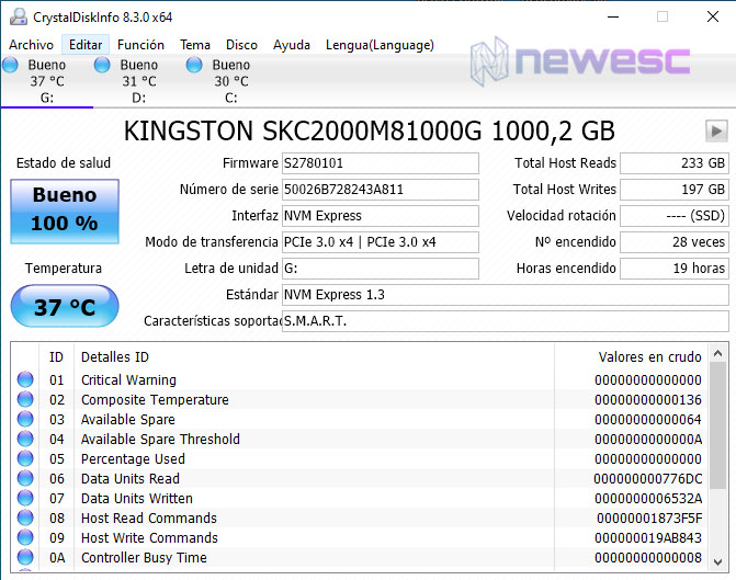 REVIEW KINGSTON KC2000 CRISTALDISKINFO