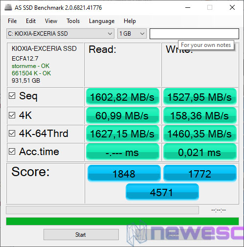 REVIEW KIOXIA EXCERIA 1TB AS SSD