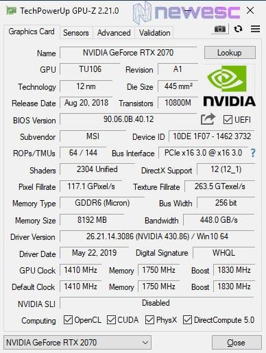 REVIEW MSI RTX 2070 GAMING Z