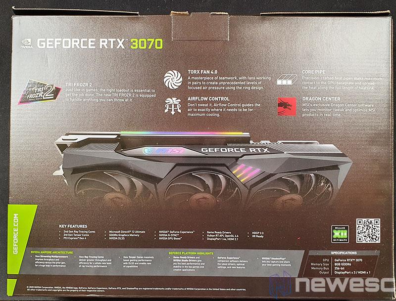 REVIEW MSI RTX 3070 GAMING X TRIO CAJA detras