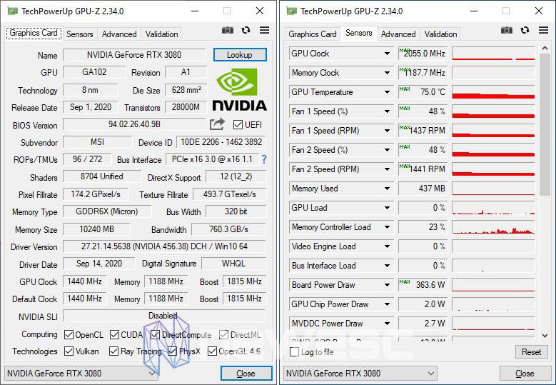 REVIEW MSI RTX 3080 GAMING X TRIO GPUZ