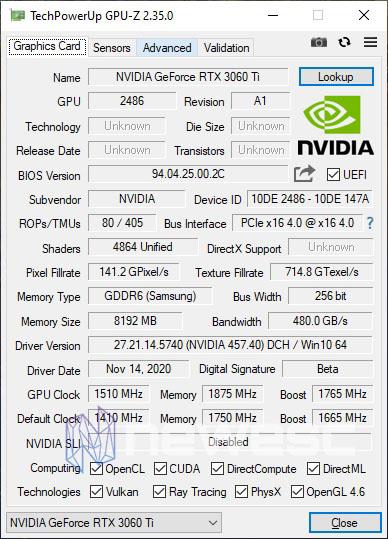 REVIEW NVIDIA RTX 3060TI GPUZ