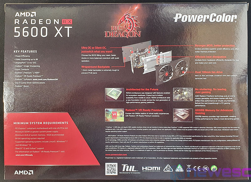 REVIEW POWERCOLOR RED DRAGON 5600XT 6GB 14GBPS CAJA DETRAS