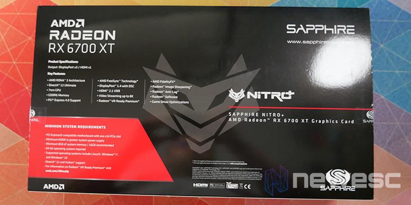 REVIEW SAPPHIRE NITRO RX 6700 XT GAMING OC CAJA DETRAS