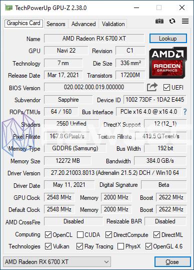 REVIEW SAPPHIRE NITRO RX 6700 XT GAMING OC GPUZ