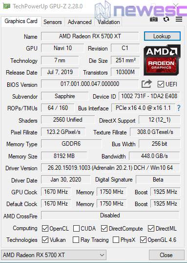 REVIEW SAPPHIRE PULSE RADERON 5700 XT GPUZ