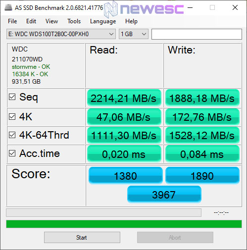 REVIEW WD BLUE 1TB NVME AS SSD