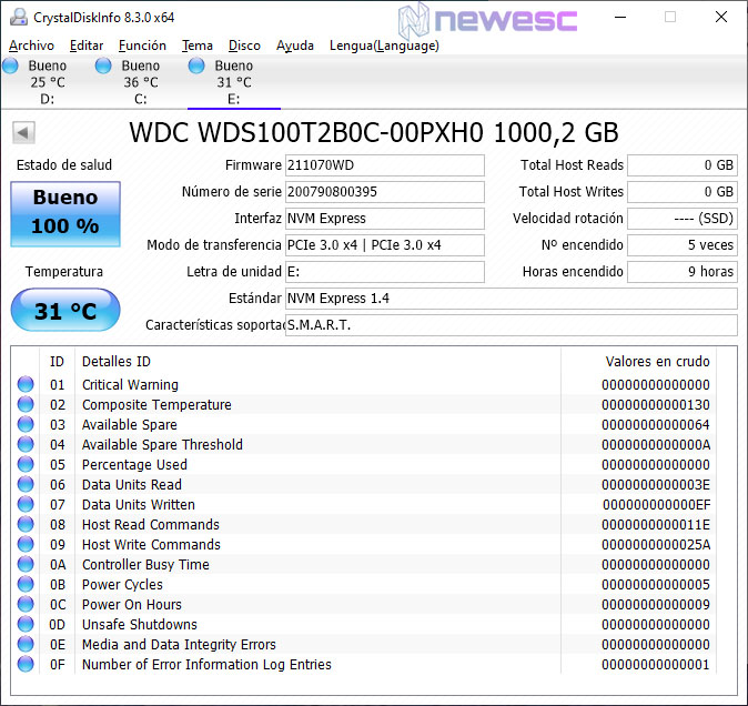 REVIEW WD BLUE 1TB NVME CRYSTALDISKINFO