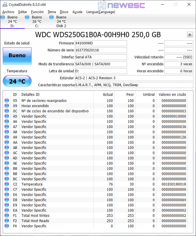 REVIEW WD BLUE 250GB SSD SATA CRYSTALDISKINFO