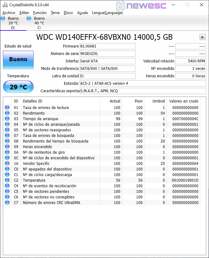 REVIEW WD RED 14 TB WD140EFFX CRISTALDISKINFO
