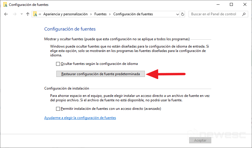 Restaurar Fuentes en Windows 10