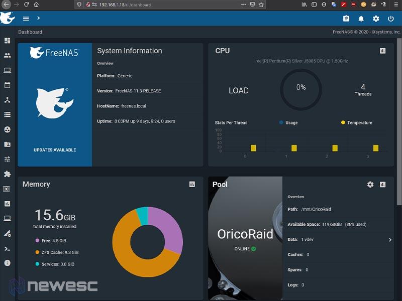 Review ASRock J5005 ITX FreeNAS