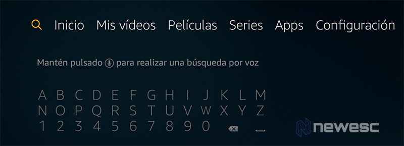 Review Amazon Fire Stick 4K menus y teclado