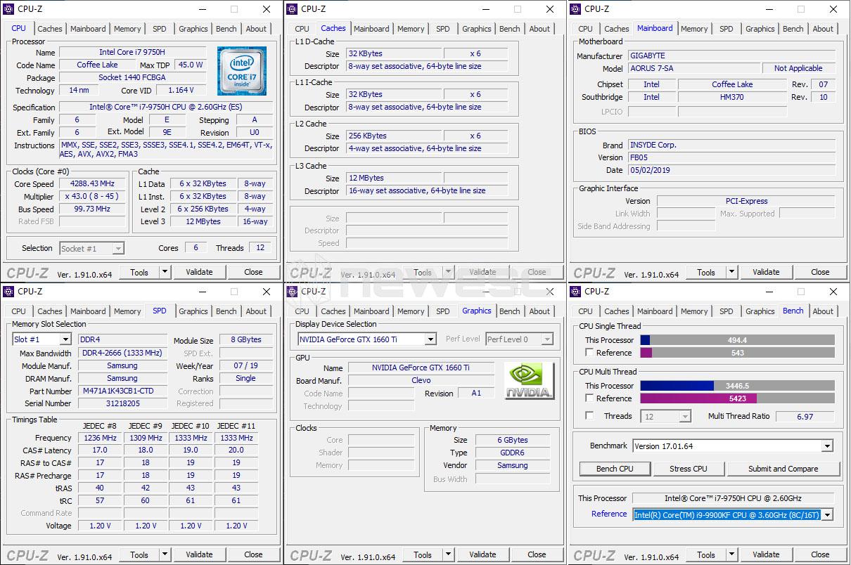 Review Aorus 7 1660Ti CPU Z