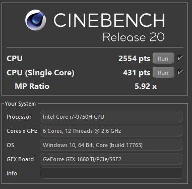 Review Aorus 7 1660Ti CineBench R20
