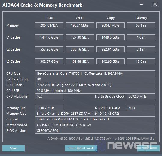 Review Asus GL504GW Aida