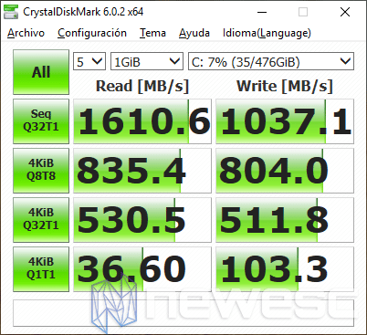 Review Asus GL504GW CrystalDiskMark