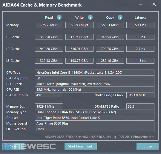 Review Asus Prime B560 Plus Aida64