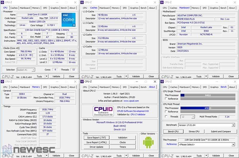 Review Asus Prime B560 Plus CPU Z