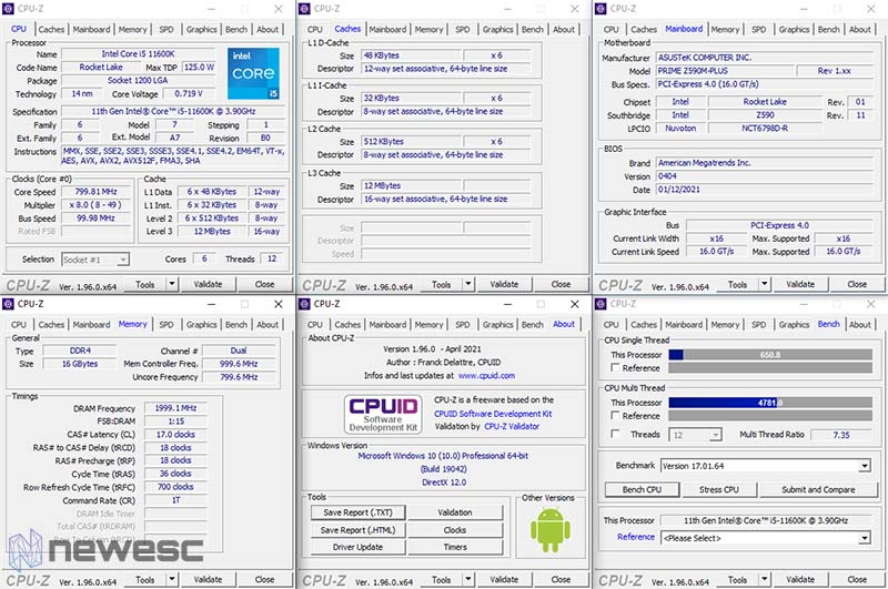 Review Asus Z590 M Plus CPU Z