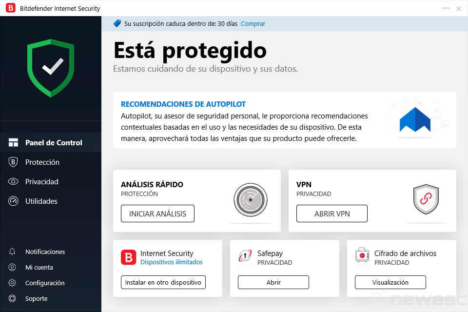 Review Bitdefender Internet Security Pantalla inicio
