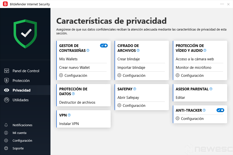 Review Bitdefender Internet Security Privacidad