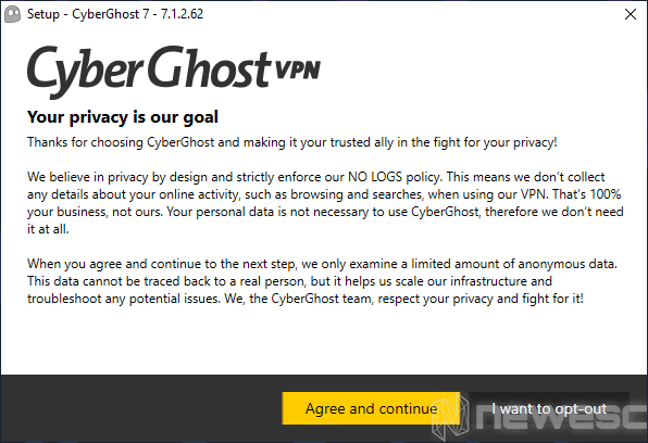Review CyberGhost VPN Politica de anonimato