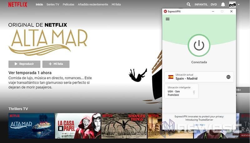 Review ExpressVPN Entrando en Netflix
