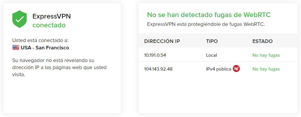 Review ExpressVPN Fugas de WebRTC