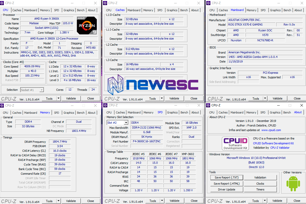 Review GSkill Neo 3600 CPU Z