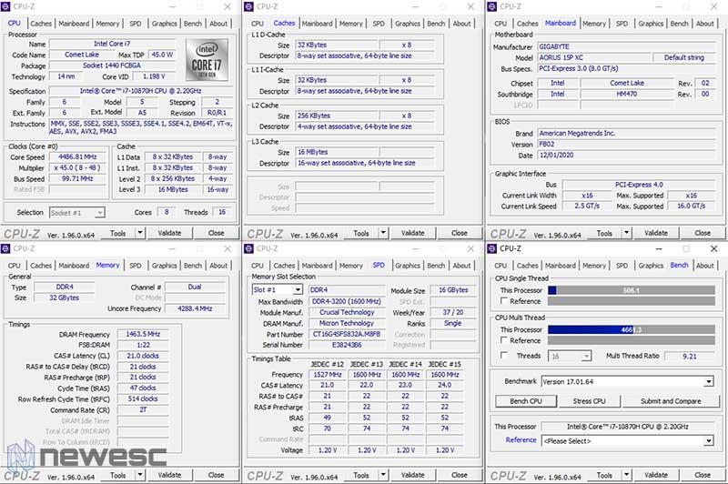 Review Gigabyte Aorus 15P CPUZ