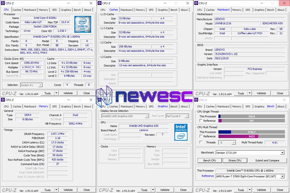 Review Lenovo Yoga 730 CPUZ