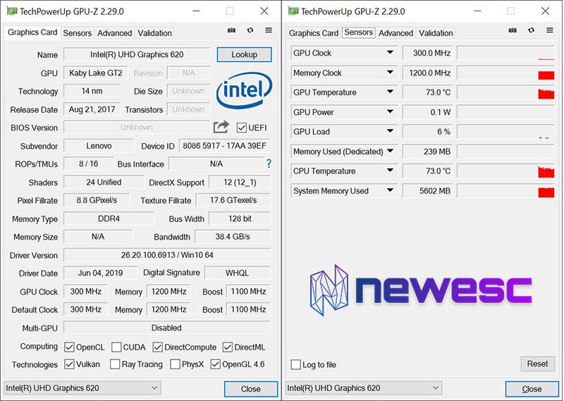 Review Lenovo Yoga 730 GPUZ
