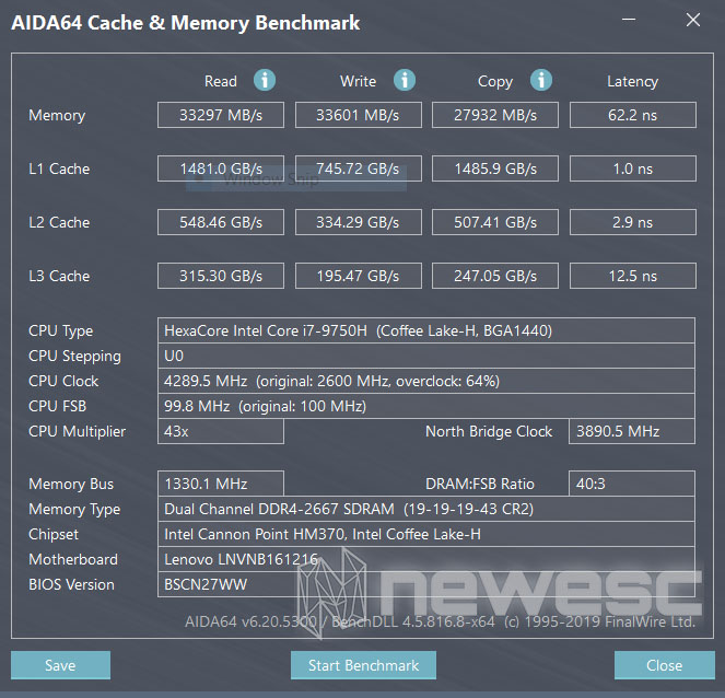 Review Lenovo Yoga C940 15 Aida64 Memory Benchmark