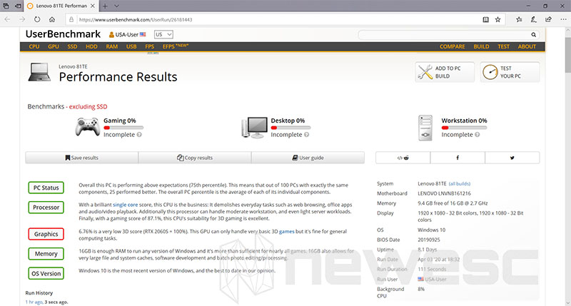 Review Lenovo Yoga C940 15 UserBenchmark