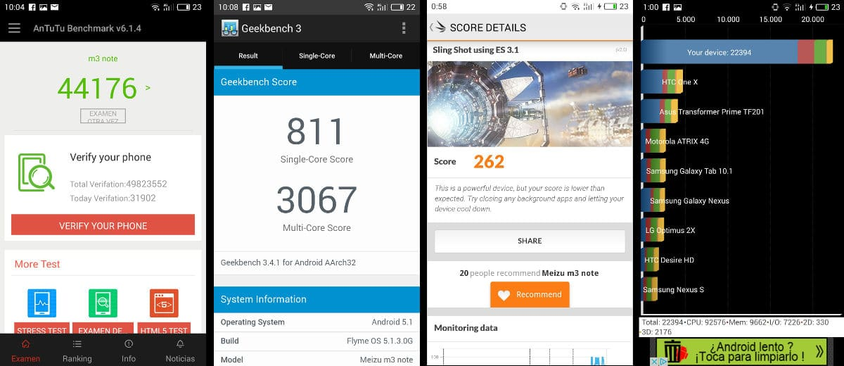 Review Meizu M3 Note benchmarks