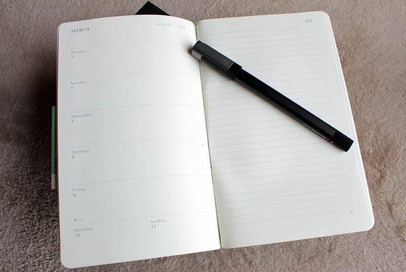 Review Moleskine Pen Ellipse NewEsc bolígrafo y libreta abierta