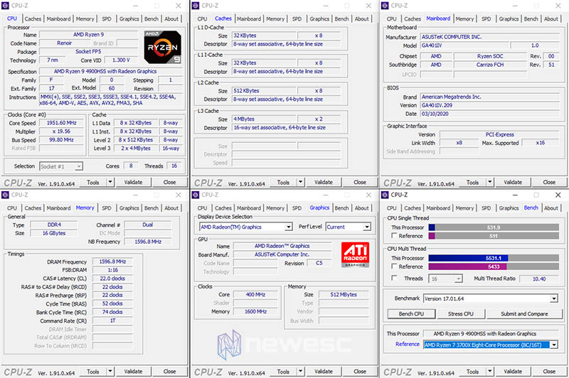 Review ROG Zephyrus G14 CPU Z