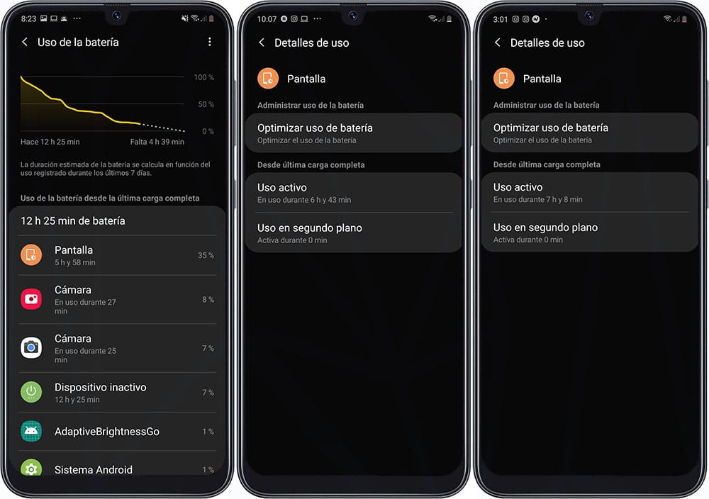 Review Samsung Galaxy A50 - Resultados de la batería