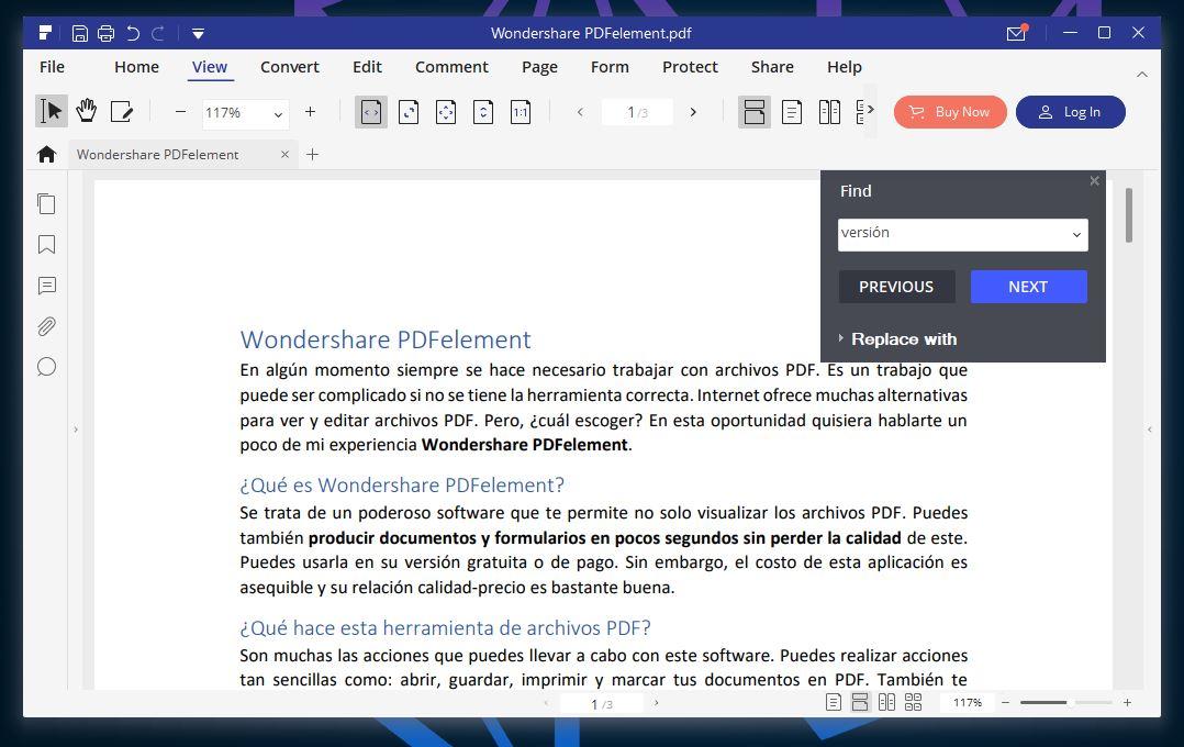 Review Wondershare PDFelement Pantalla principal