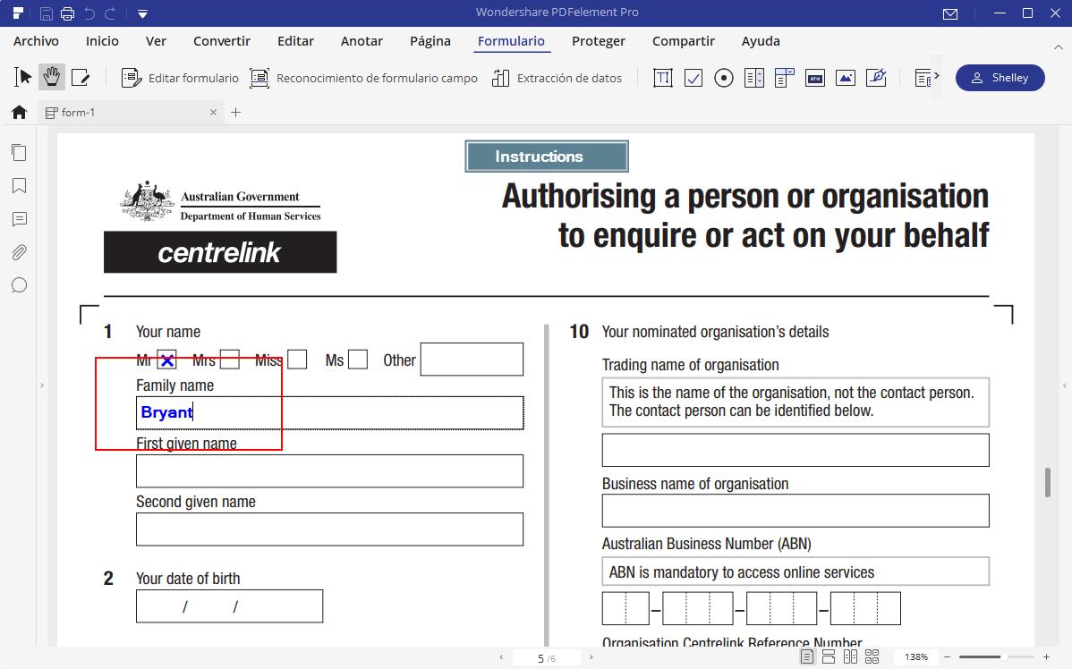 Review Wondershare PDFelement Rellenar formulario