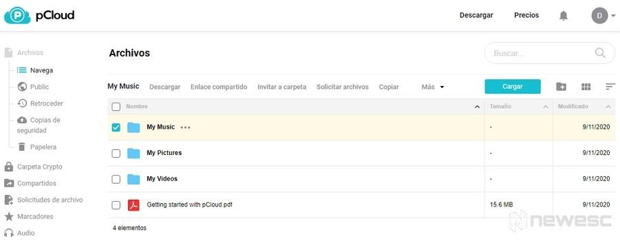Review pCloud opción Navega