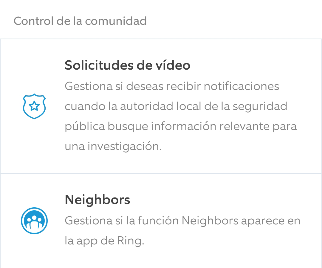 Ring Solicitudes de Video y Neighbours