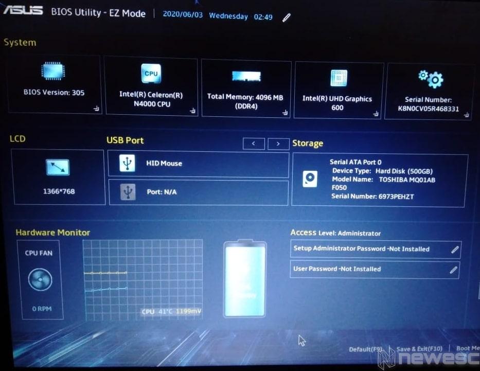 Saber modelo del portátil BIOS min